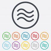 picture of flood  - Water waves sign icon - JPG