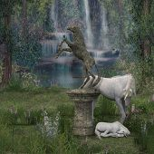 foto of fantasy world  - Unicorns in a fantasy - JPG