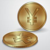 picture of japanese coin  - Vector illustration of golden coins with Japanese Yen  JPY currency sign - JPG