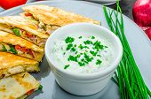 pic of chive  - Chicken quesadilla with tomato red onions parsley and red pepper fresh salad and creame sour - JPG