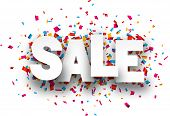 image of confetti  - White sale sign over confetti background - JPG