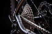 pic of mountain chain  - Rear mountain bike cassette on the wheel - JPG