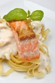 Salmon Steak With Home Made Spaghetti And Basil poster