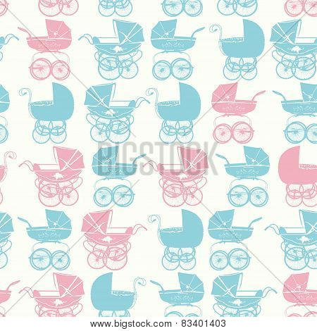 Seamless pattern with buggy