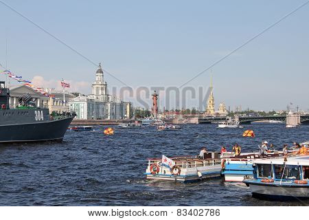 St. Petersburg In The Day Of The Navy Of Russia