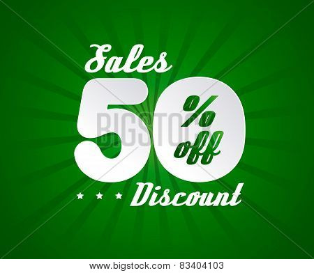 Sale poster with 50% percent discount. Green edition for sales.