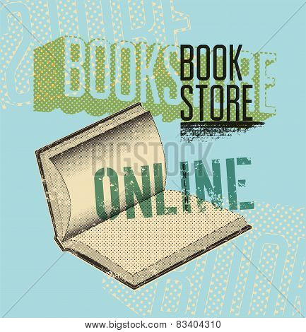 Typographic poster in grunge style for a online bookstore. Vector illustration.