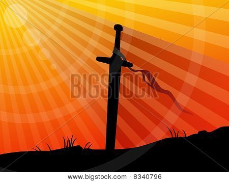 Background, sword in sunset