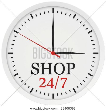 clock without numbers marked shop is open 24 hours a week