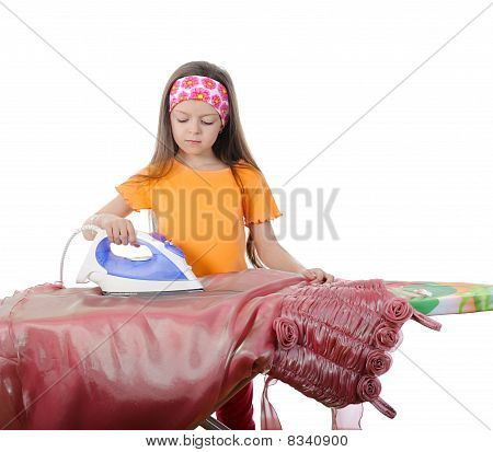 Girl Stroking A Evening Dress Iron