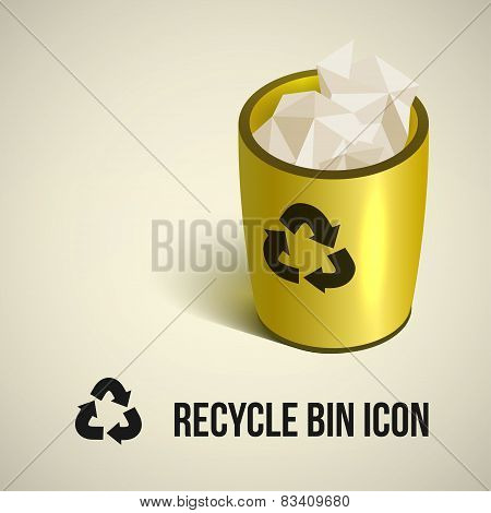 realistic yellow recycle bin icon