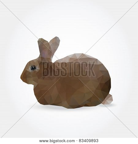 Modern Background With Polygonal Silhouette Of Rabbit, Hare
