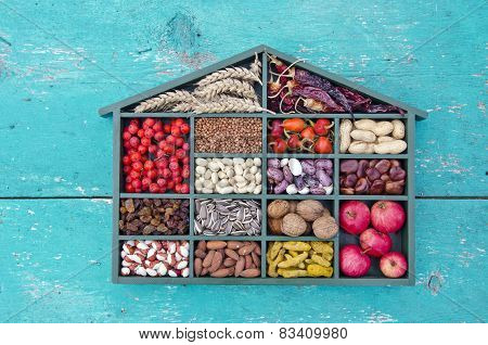 Vegetarian Healthy Fruits, Seeds And Dried Food Ingredient In Wooden Box