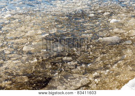 Abstract Frozen Ice Blocks In The Sea