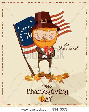 Thanksgiving day. Greeting card with pilgrim and US flag.
