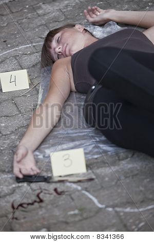 Crime Scene With Killed Woman