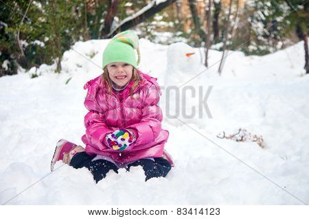 Cute Blonde Girl Making Snowball