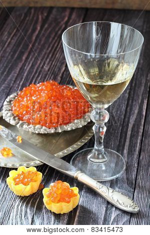 Tartlet With Red Caviar And White Wine