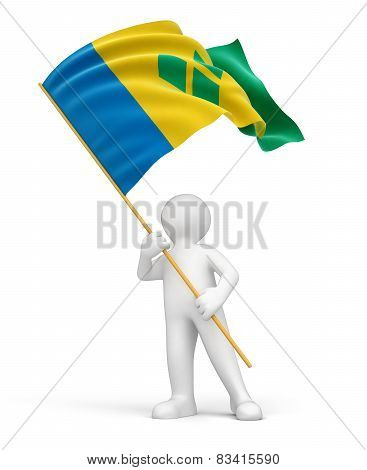 Man with Saint Vincent and the Grenadines flag (clipping path included)