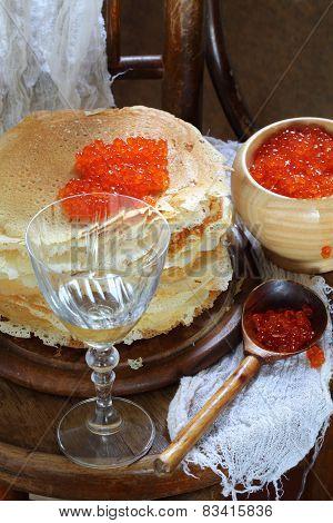 Wine, Red Caviar And Pancakes