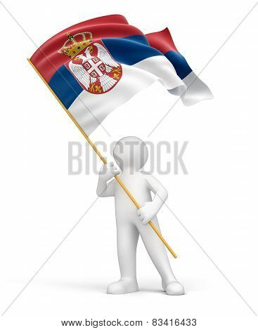 Man and Serbian flag (clipping path included)