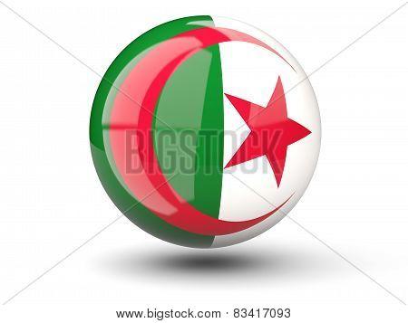 Round Icon Of Flag Of Algeria