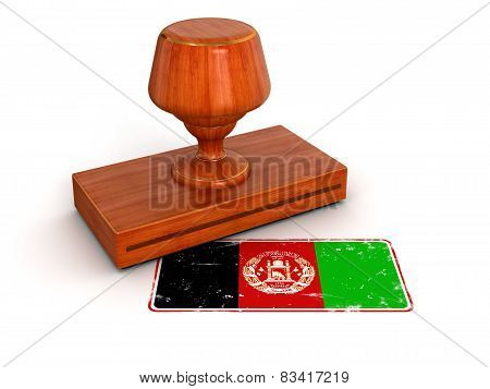 Rubber Stamp Afghani flag (clipping path included)