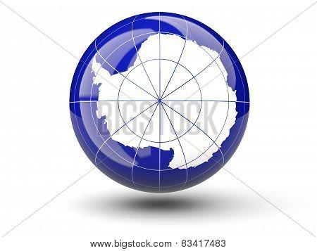 Round Icon Of Flag Of Antarctica