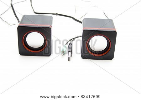 Black Loudspeakers with Cables