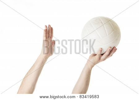 A volley ball player man doing serve in white background