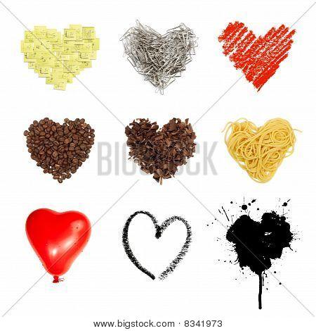 Heart Shaped Set Symbols. Nine In One, Isolated On White Background.