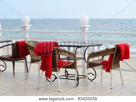 Empty Tables At Hotel Restaraunt With Red Plaids On Black Sea Coast,odessa Outdoors