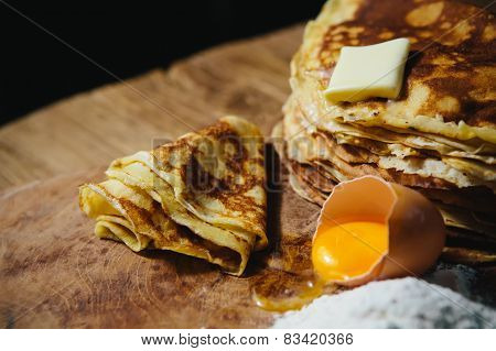 Russian traditional pancakes - blini