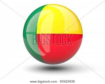 Round Icon Of Flag Of Benin