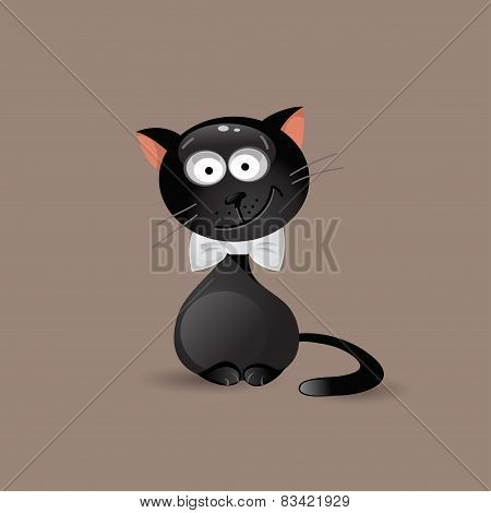Fashionable Cat With Bow Tie. Vector Illustration