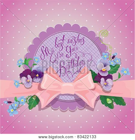 Holiday Card.colorful Flowers, Frame With Pink Bow And Ribbon On Polka Dots Background. Handwritten
