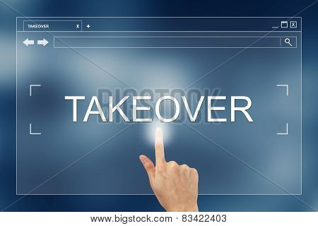 Hand Press On Takeover Button On Website
