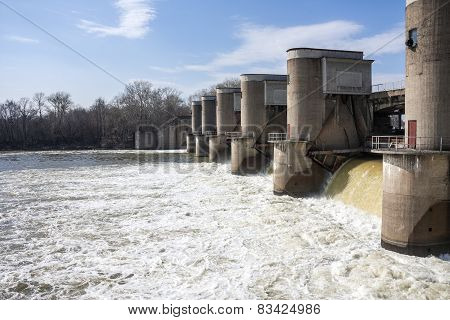Water discharge at the dam