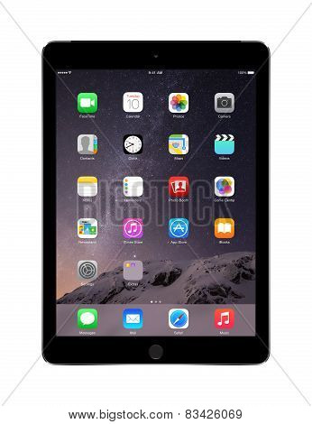 Apple Space Gray Ipad Air 2 With Ios 8, Designed By Apple Inc.