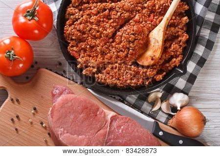 Hot Sauce Bolognese And Fresh Ingredients Horizontal Top View