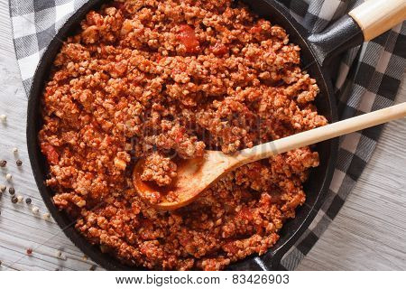 Bolognese Sauce In A Frying Pan Close-up Horizontal Top View