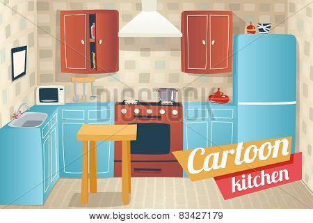 Kitchen Furniture Accessories Interior Cartoon Apartment House Room Retro Vintage Background Vector