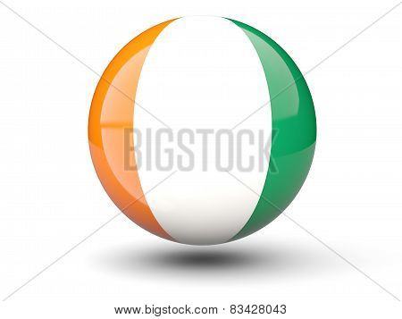 Round Icon Of Flag Of Cote D'ivoire