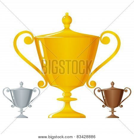 Cups Of Winners, Golden, Silver And Bronzed Trophy Cups