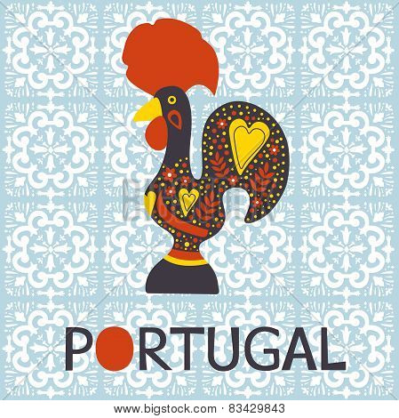 Illustration of Barcelos rooster symbol of Portugal