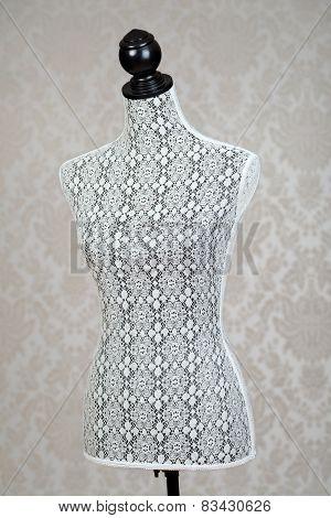 closeup vintage dress form