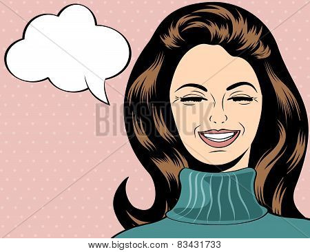 Pop Art Cute Retro Woman In Comics Style Laughing