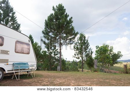 mobile home on camping site