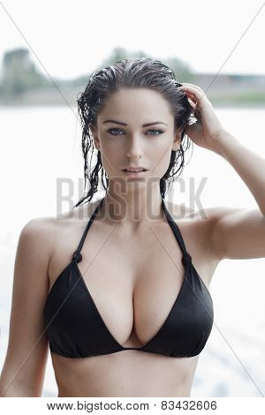 Sexy Woman In Bikini With Wet Hair And Big Tits