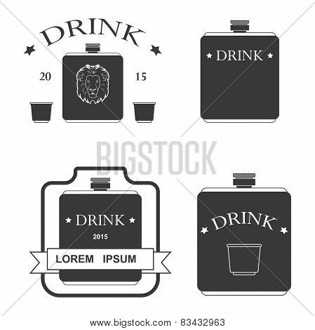 set of logos for drinking